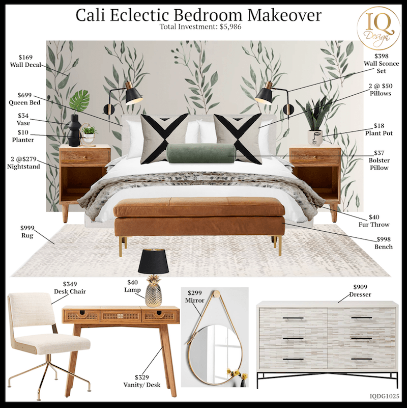 Cali Eclectic Bedroom Airbnb Makeover