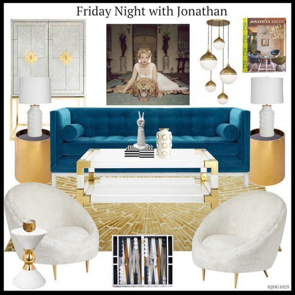 jonathan-adler-living-room-with-teal-sofa-creme-chairs